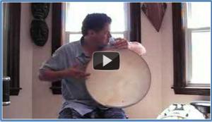 Musician playing the bendir.