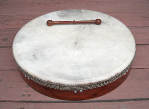 Bodhran frame drum with a fresh drum head.