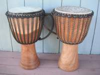Two African djembe hand drums.