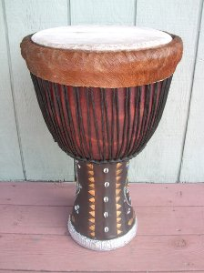 Djembe hand drum with a nice, thick goatskin drum head.