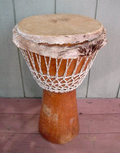 Rope-tuned, African djembe drum.